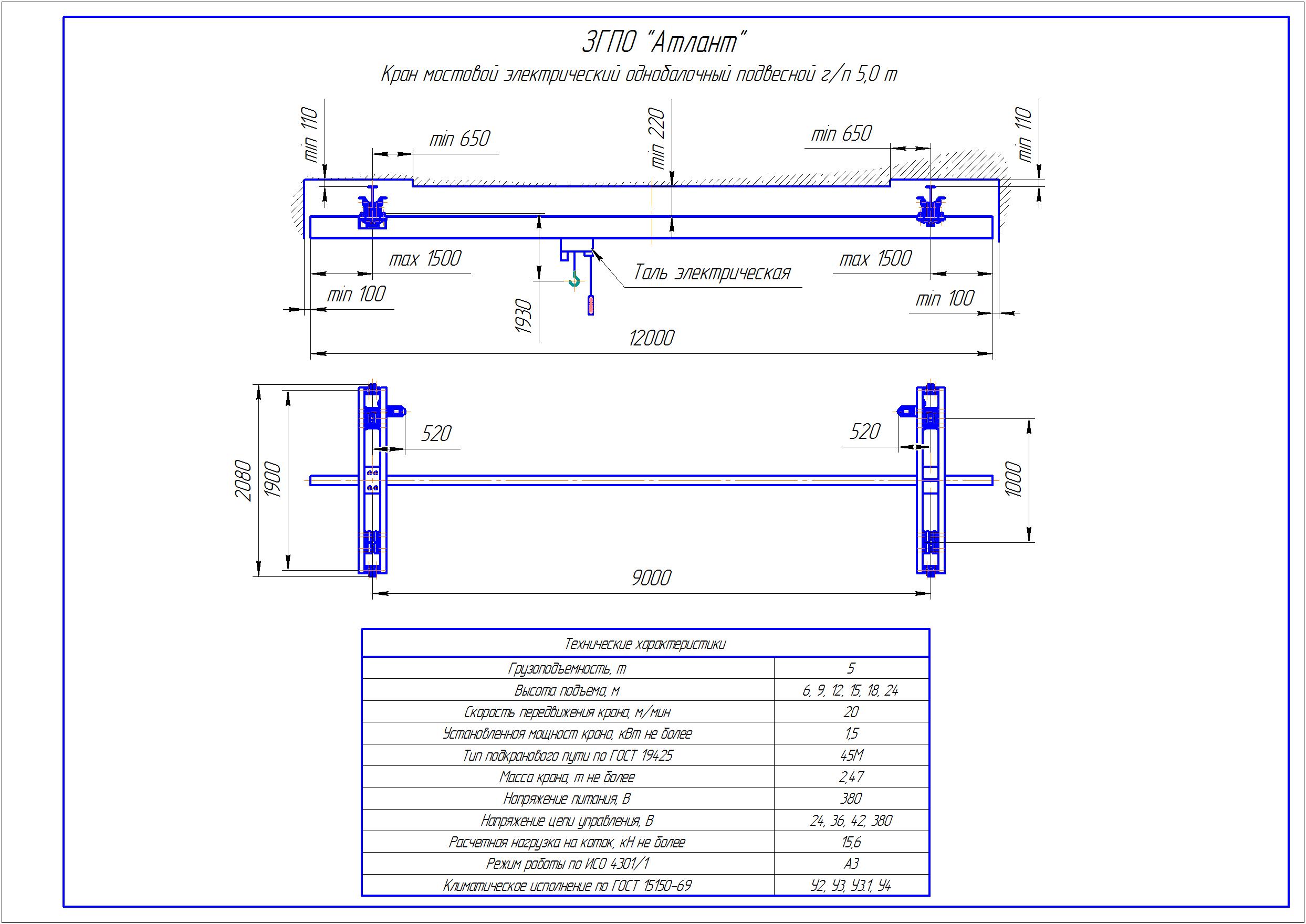 KBP 4 3 - Подвесная кран балка
