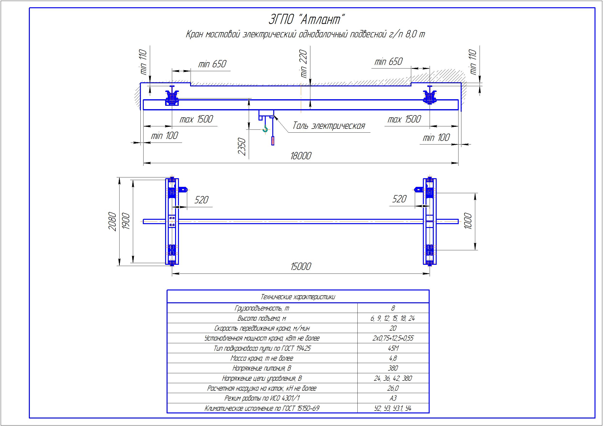 KBP 6 5 - Подвесная кран балка