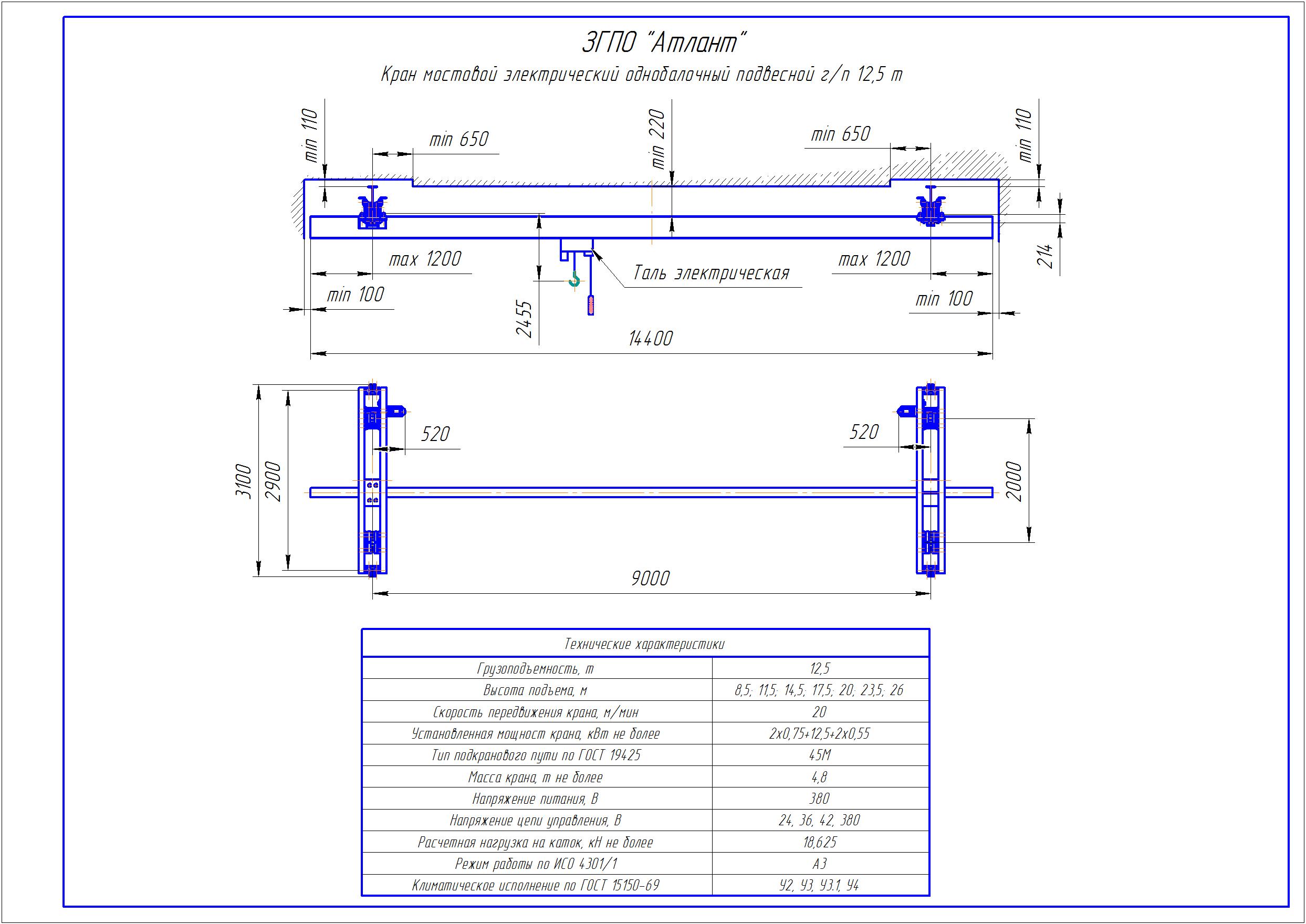 KBP 8 3 - Подвесная кран балка