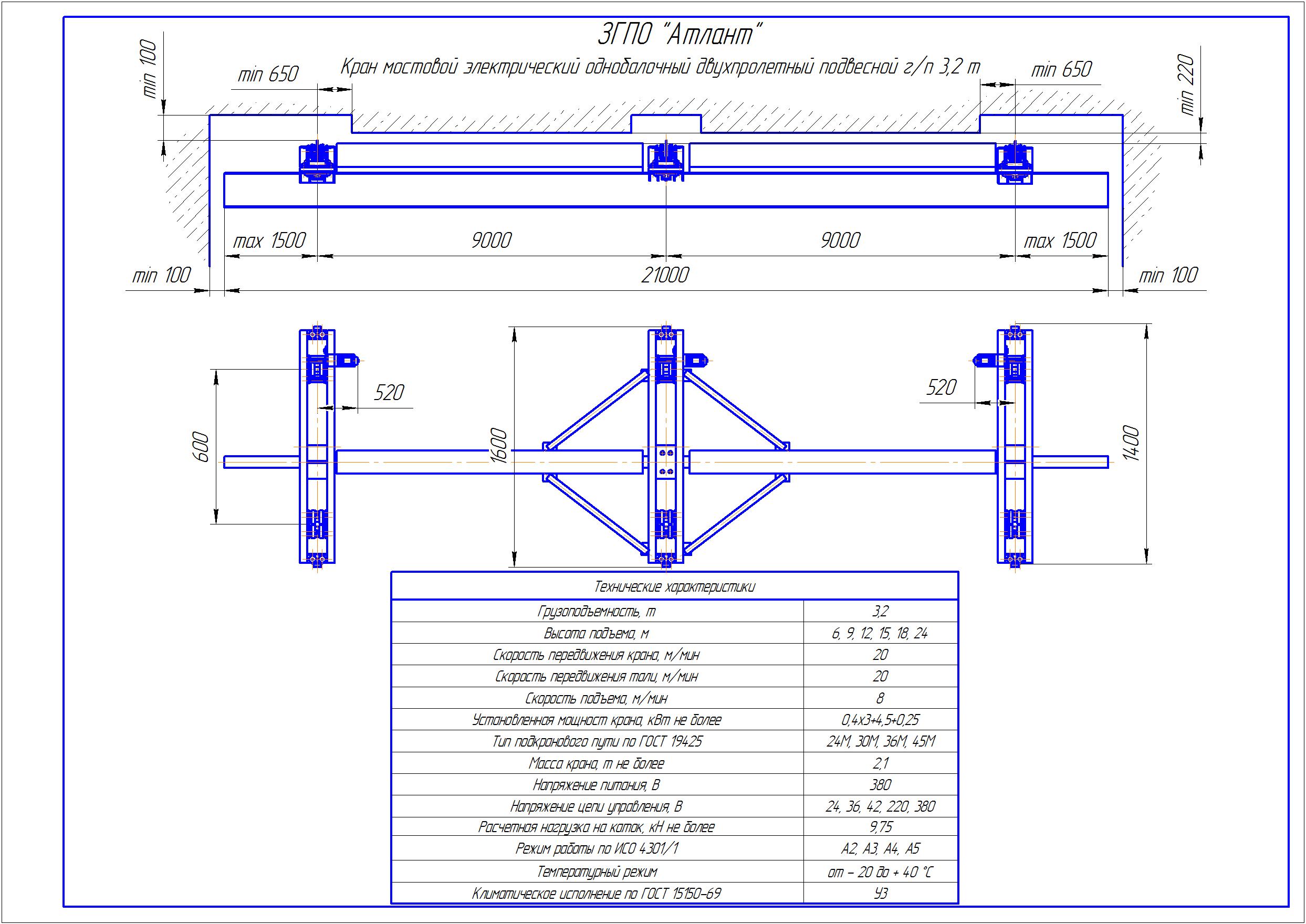 KBPD 3 2 - Подвесная кран балка двухпролетная