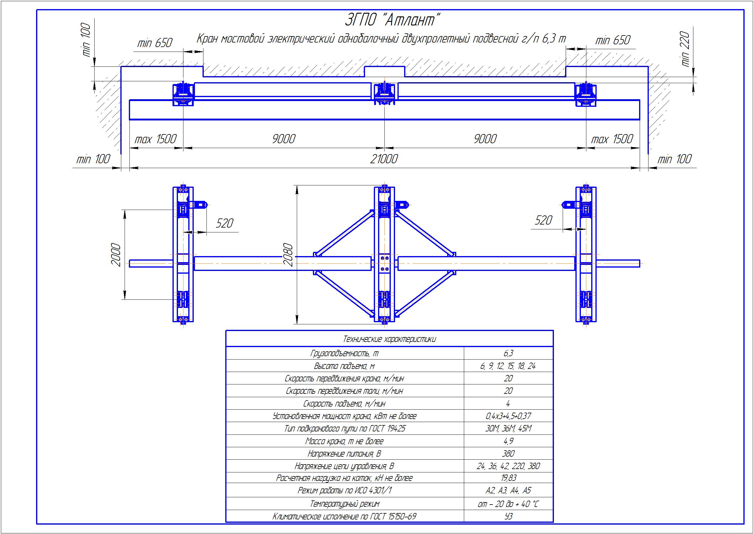 KBPD 5 2 - Подвесная кран балка двухпролетная