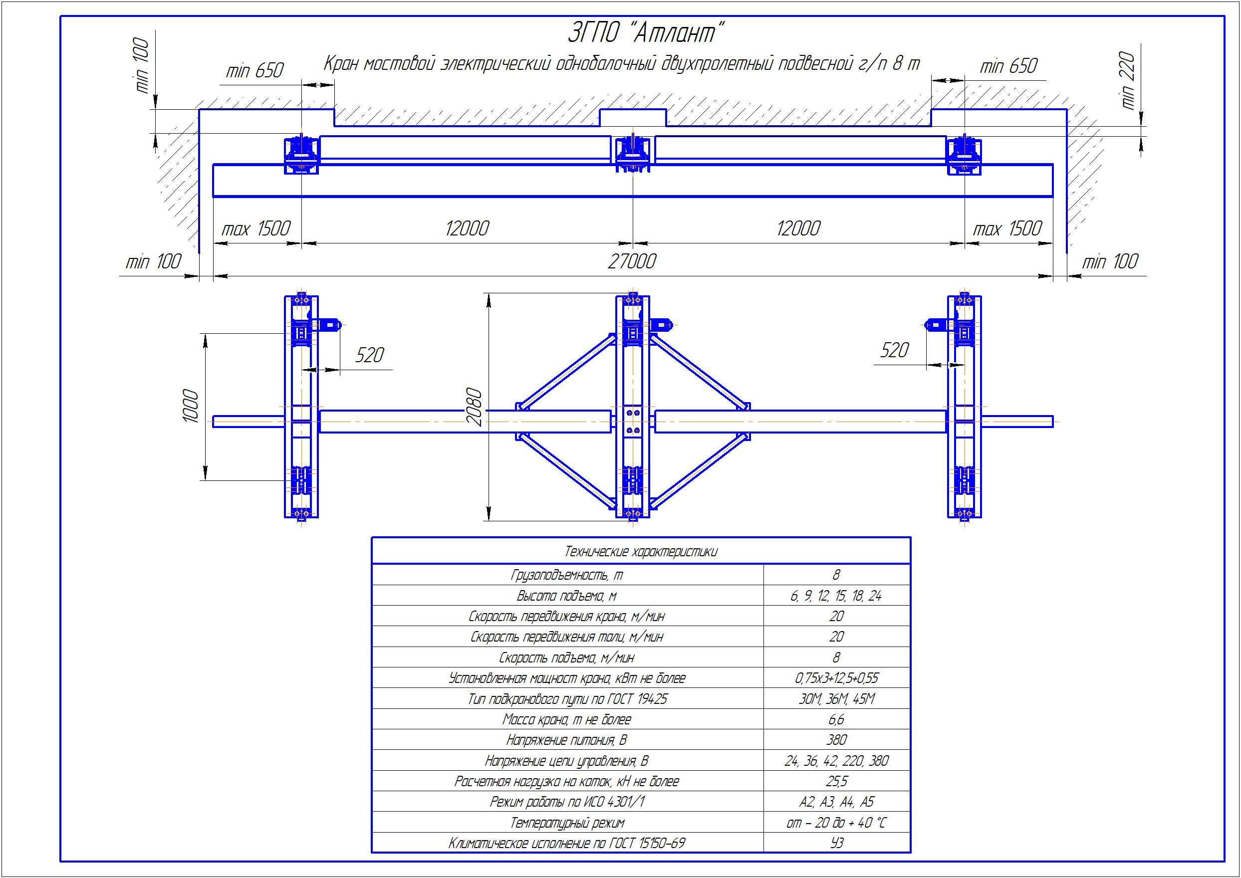 KBPD 6 4 - Подвесная кран балка двухпролетная