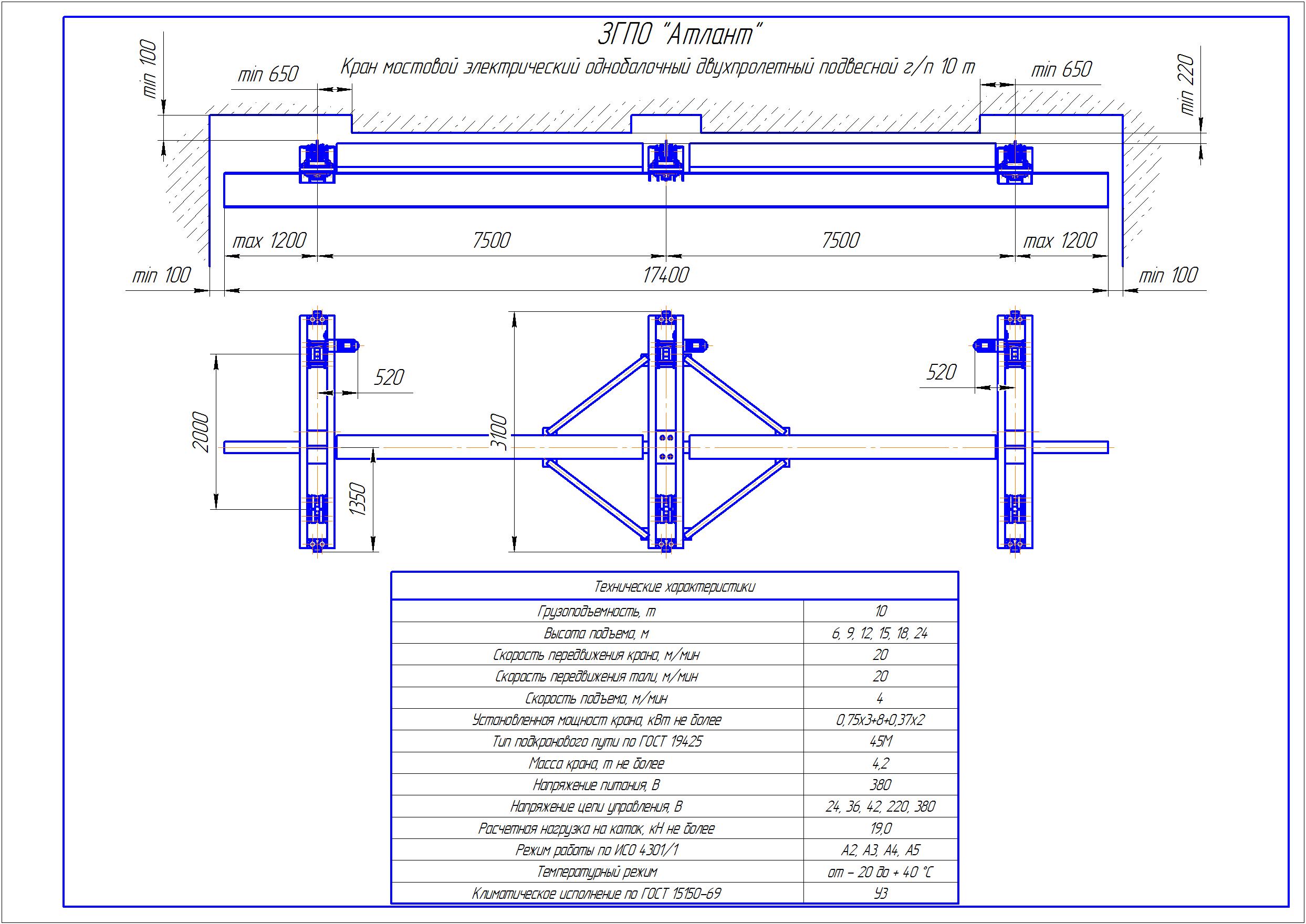 KBPD 7 1 - Подвесная кран балка двухпролетная
