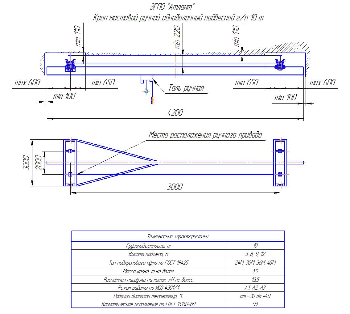 KRMPO 10 30 - Кран ручной мостовой подвесной однобалочный