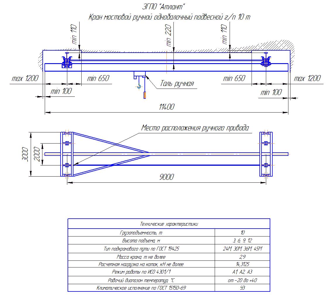 KRMPO 10 90 - Кран ручной мостовой подвесной однобалочный
