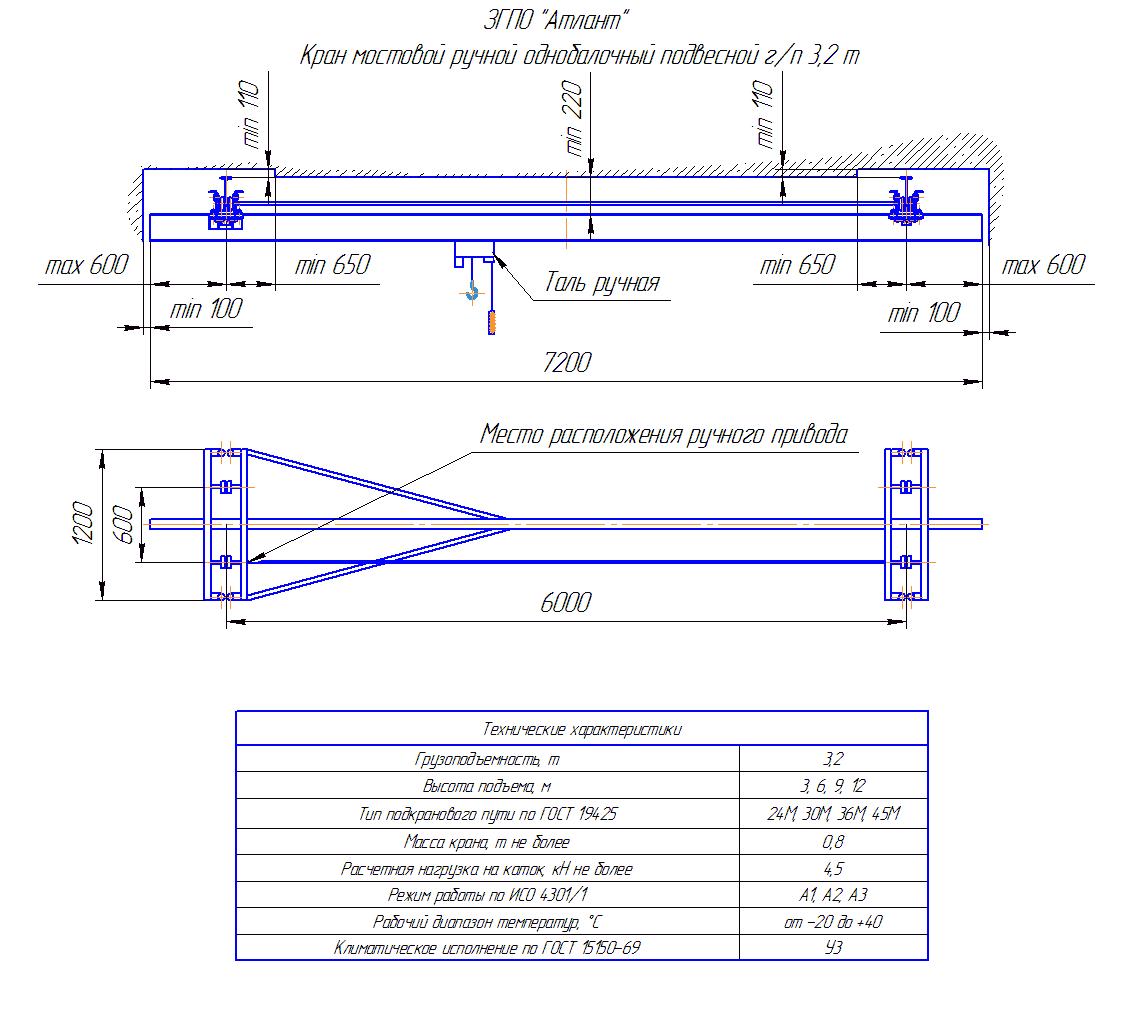 KRMPO 3 60 - Кран ручной мостовой подвесной однобалочный