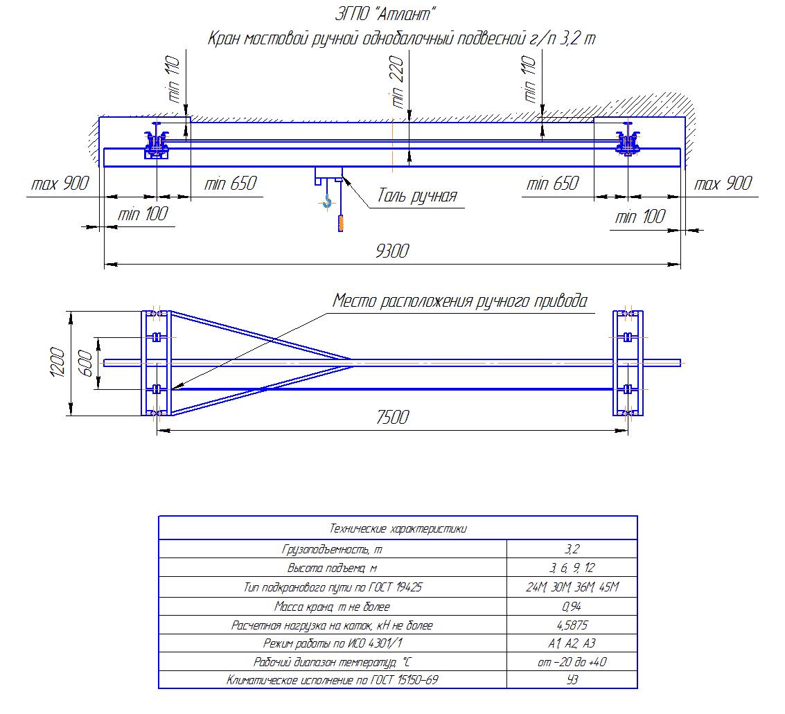 KRMPO 3 75 - Кран ручной мостовой подвесной однобалочный