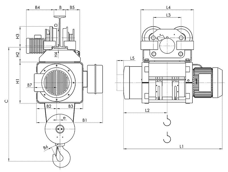 telfer MT 12 - Таль электрическая канатная передвижная на монорельсовой тележке