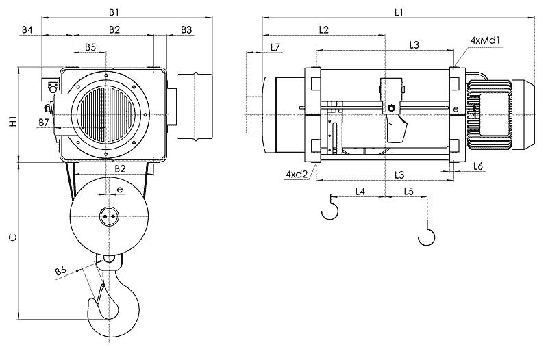 telfer MT 7 - Таль электрическая канатная стационарная