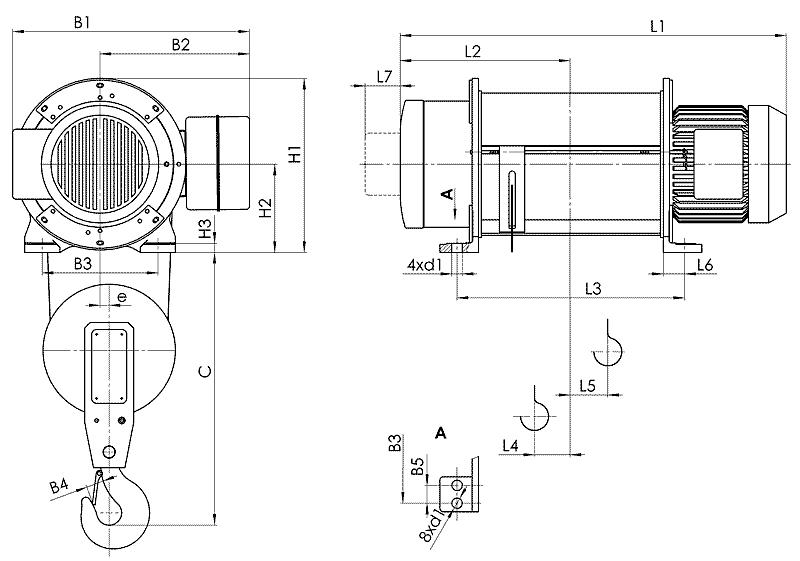 telfer T01 - Таль электрическая канатная стационарная