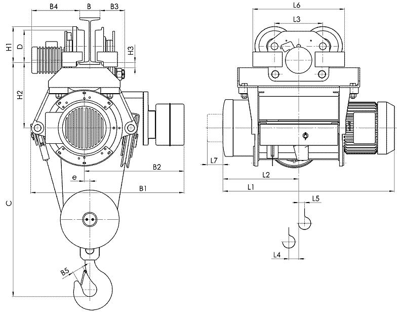telfer T39 1 - Таль электрическая канатная передвижная на монорельсовой тележке