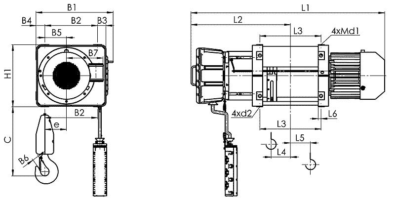 telfer VMT 1 - Таль электрическая канатная стационарная