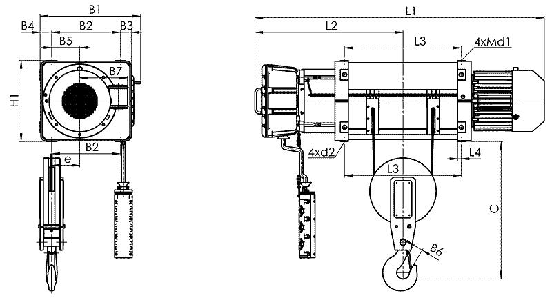 telfer VMT 3 - Таль электрическая канатная стационарная