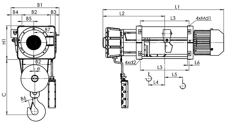 telfer VMT 7 - Таль электрическая канатная стационарная