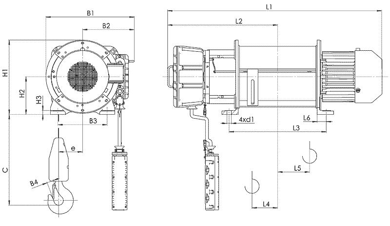telfer VT17 - Таль электрическая канатная стационарная