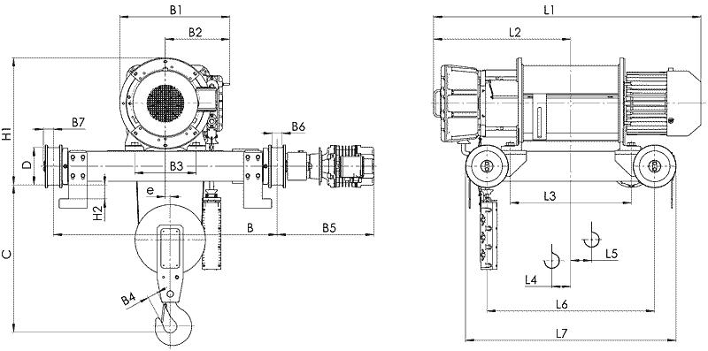 telfer VT81 - Таль электрическая канатная передвижная на двухрельсовой тележке