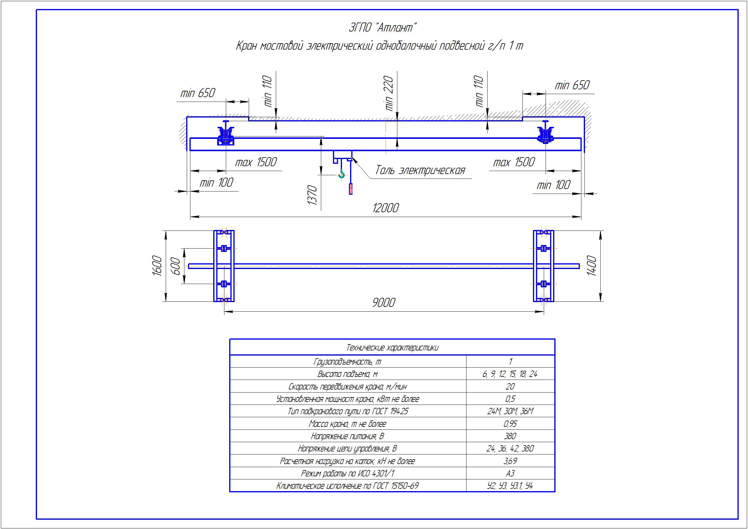 KBP 1 3 - Подвесная кран балка