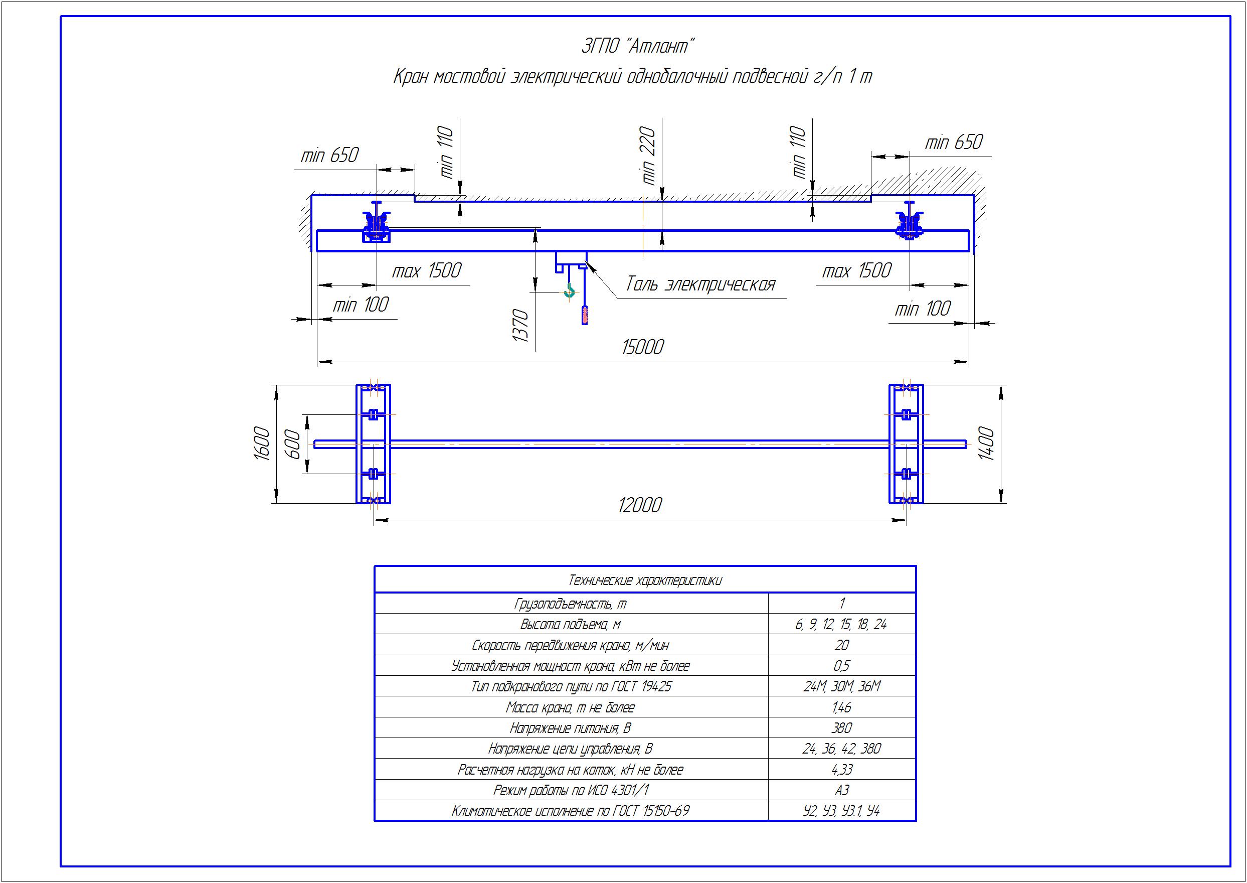 KBP 1 4 - Подвесная кран балка