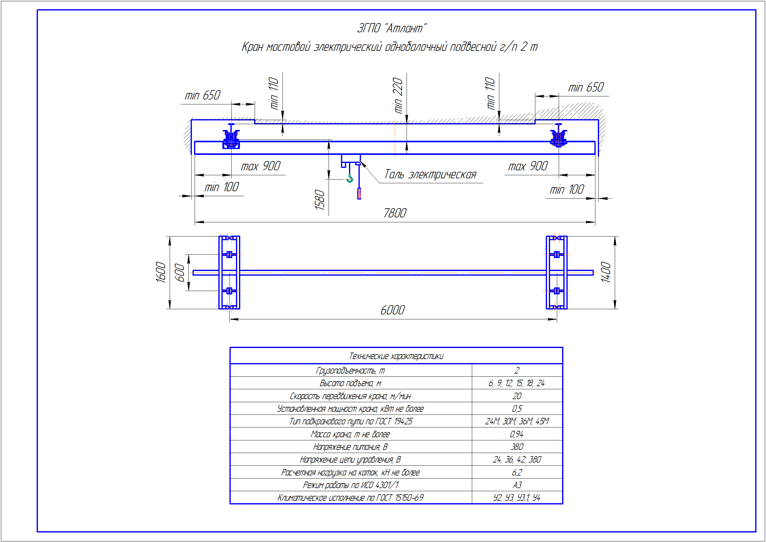 KBP 2 2 - Подвесная кран балка