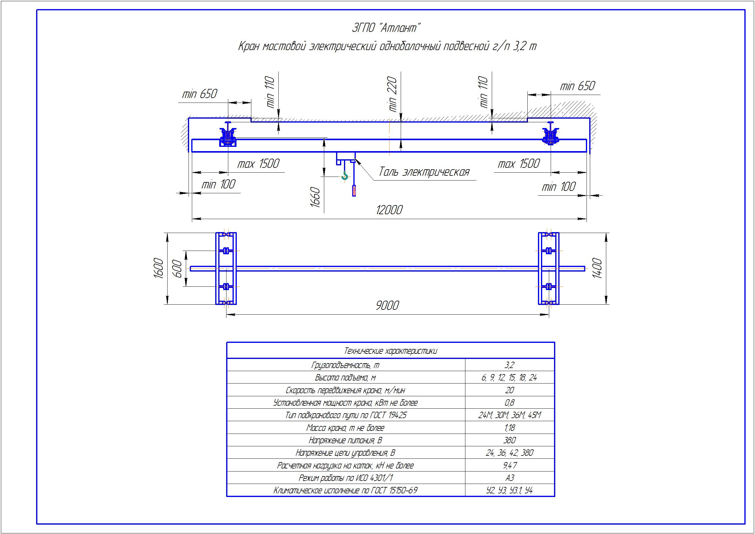 KBP 3 3 - Подвесная кран балка