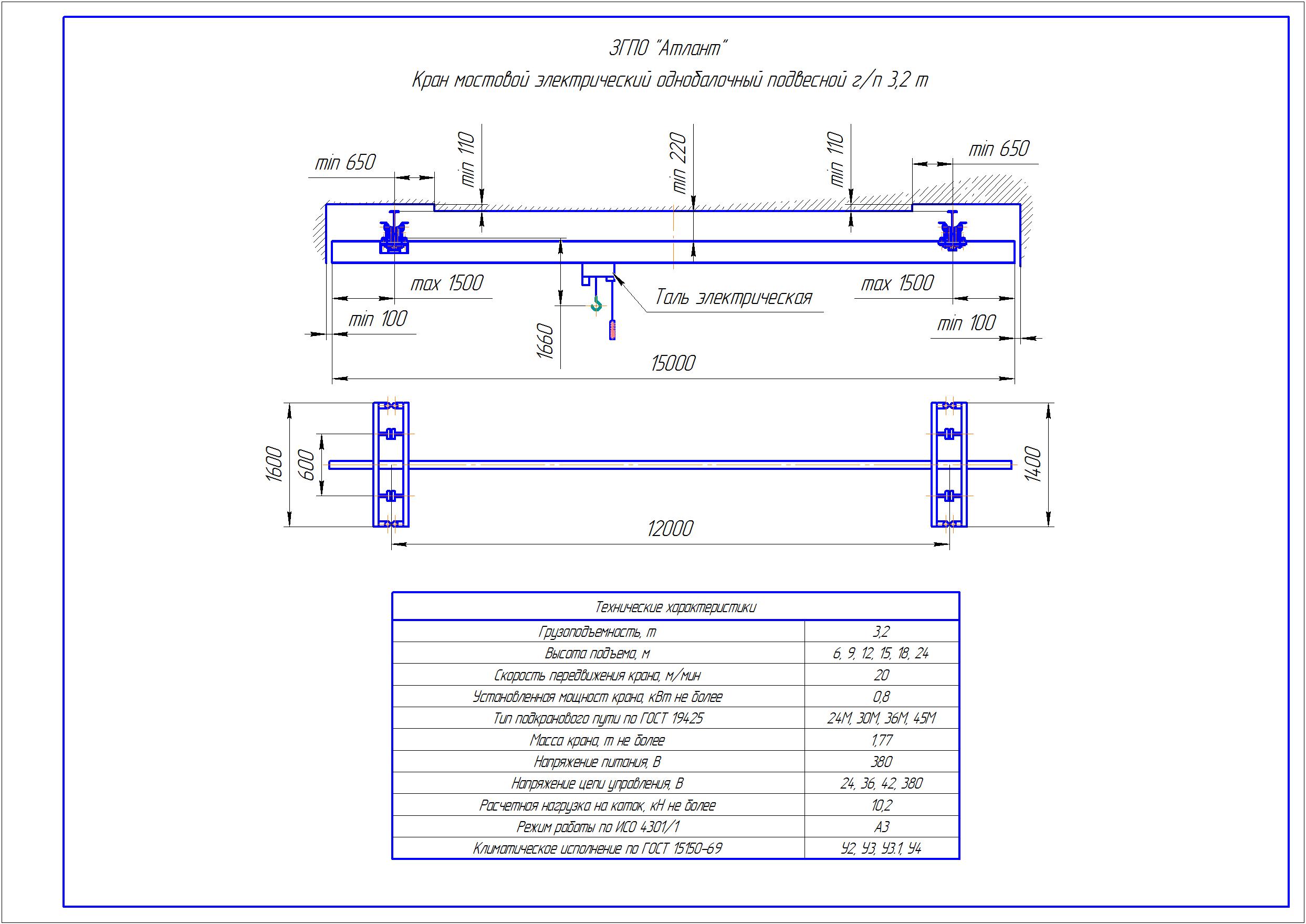 KBP 3 4 - Подвесная кран балка