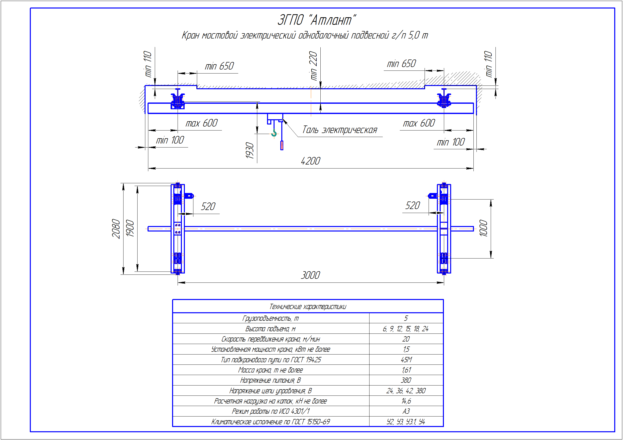 KBP 4 1 - Подвесная кран балка