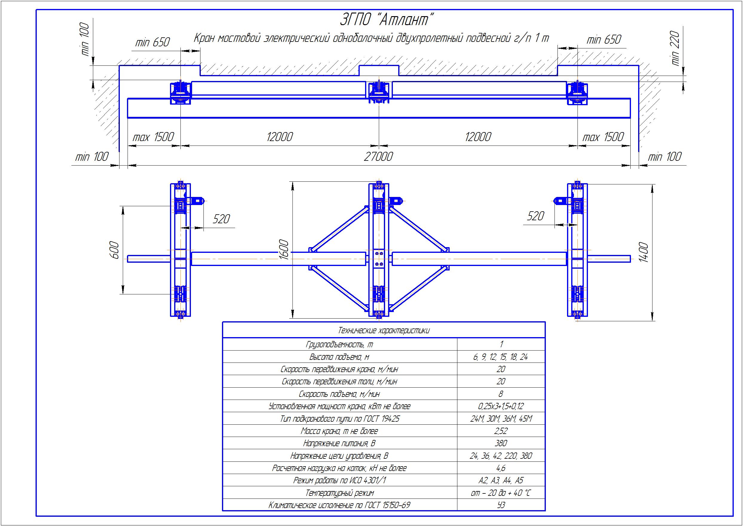 KBPD 1 4 - Подвесная кран балка двухпролетная