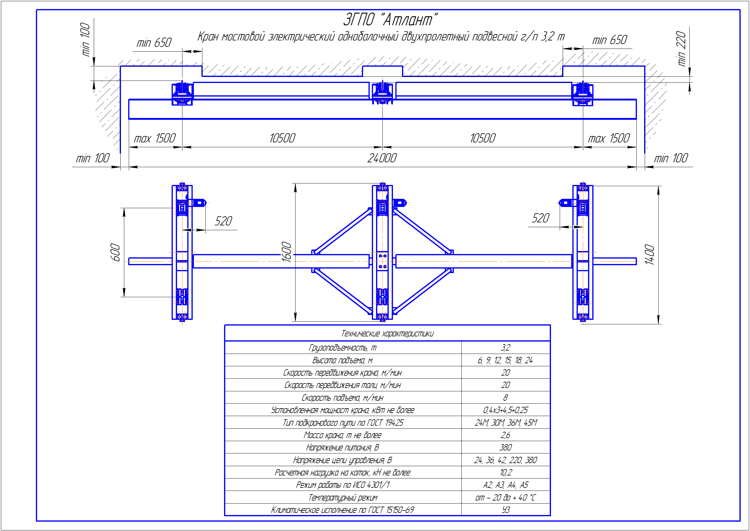 KBPD 3 3 - Подвесная кран балка двухпролетная
