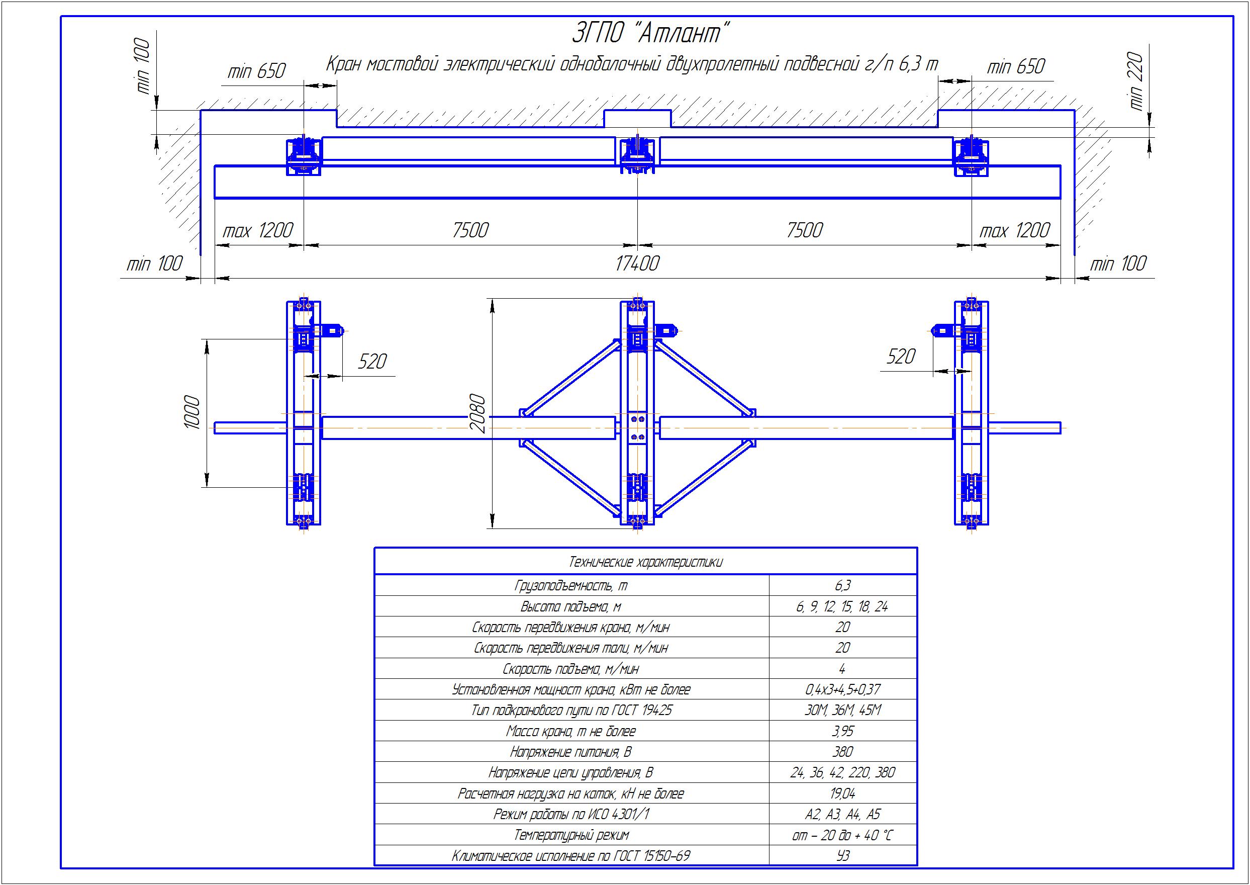 KBPD 5 1 - Подвесная кран балка двухпролетная