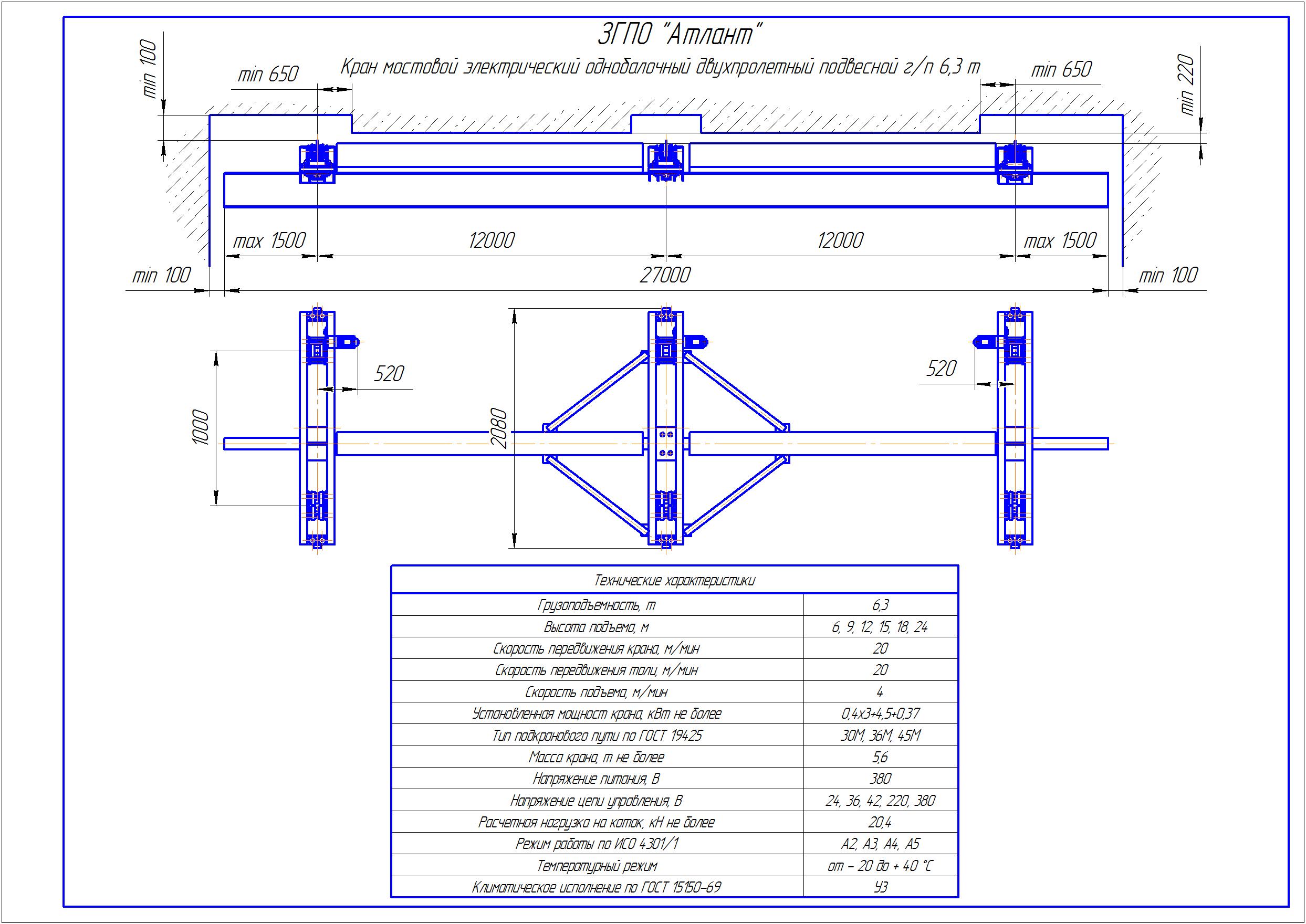 KBPD 5 4 - Подвесная кран балка двухпролетная