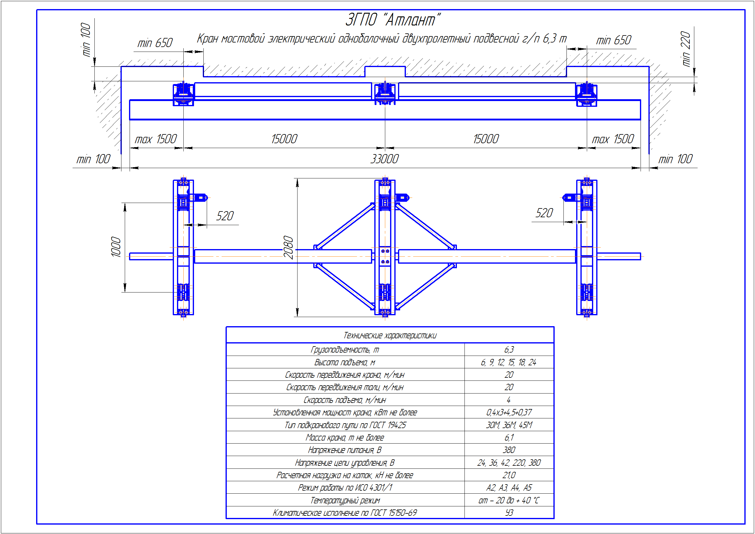KBPD 5 5 - Подвесная кран балка двухпролетная