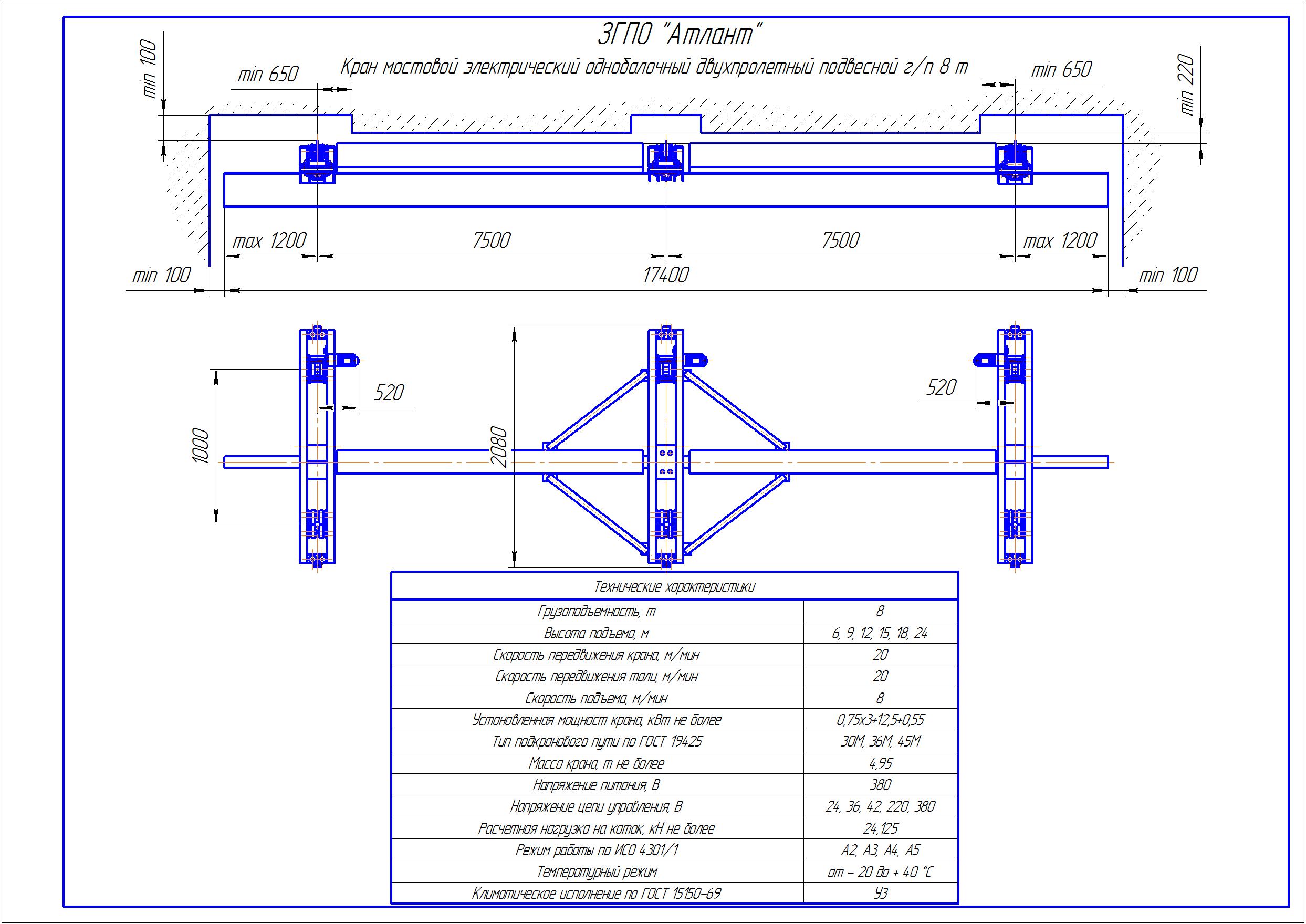 KBPD 6 1 - Подвесная кран балка двухпролетная