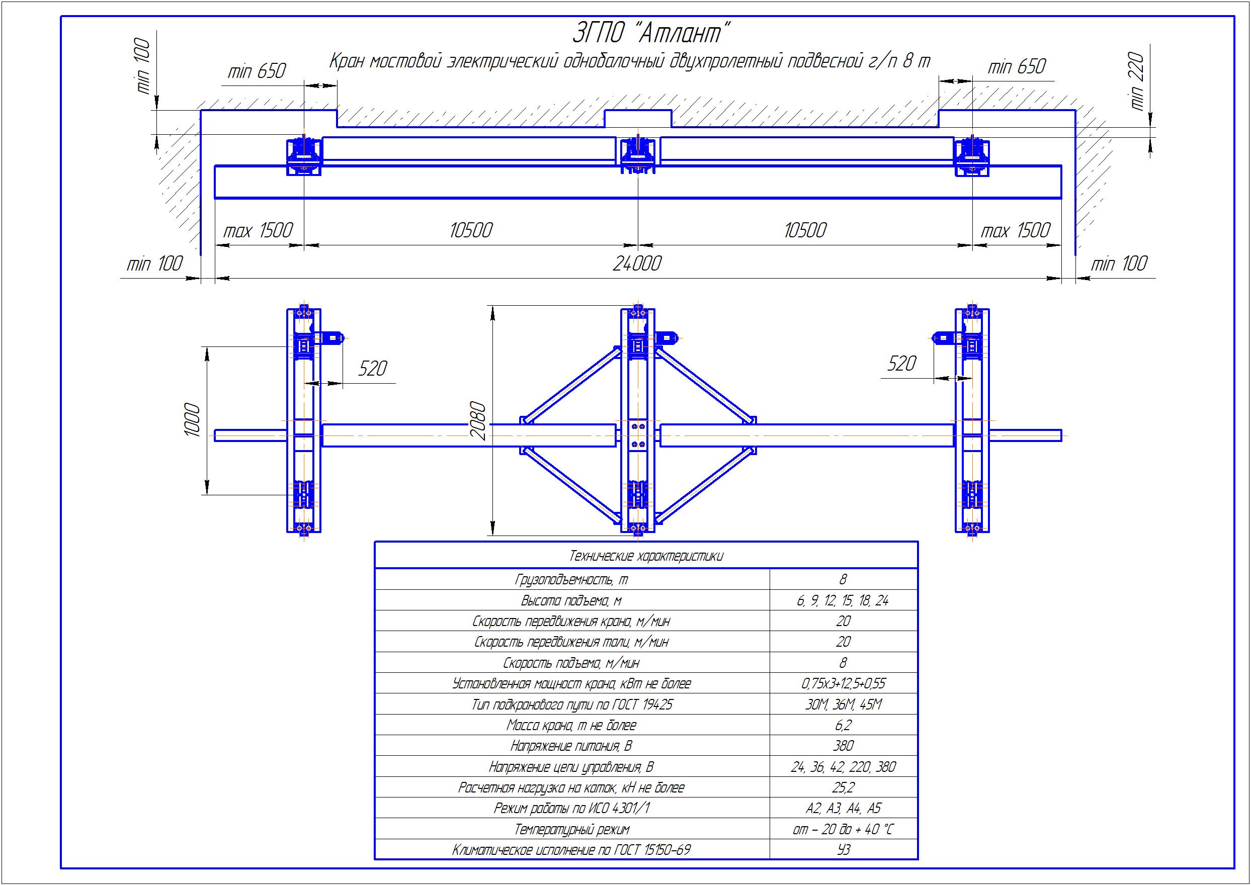 KBPD 6 3 - Подвесная кран балка двухпролетная