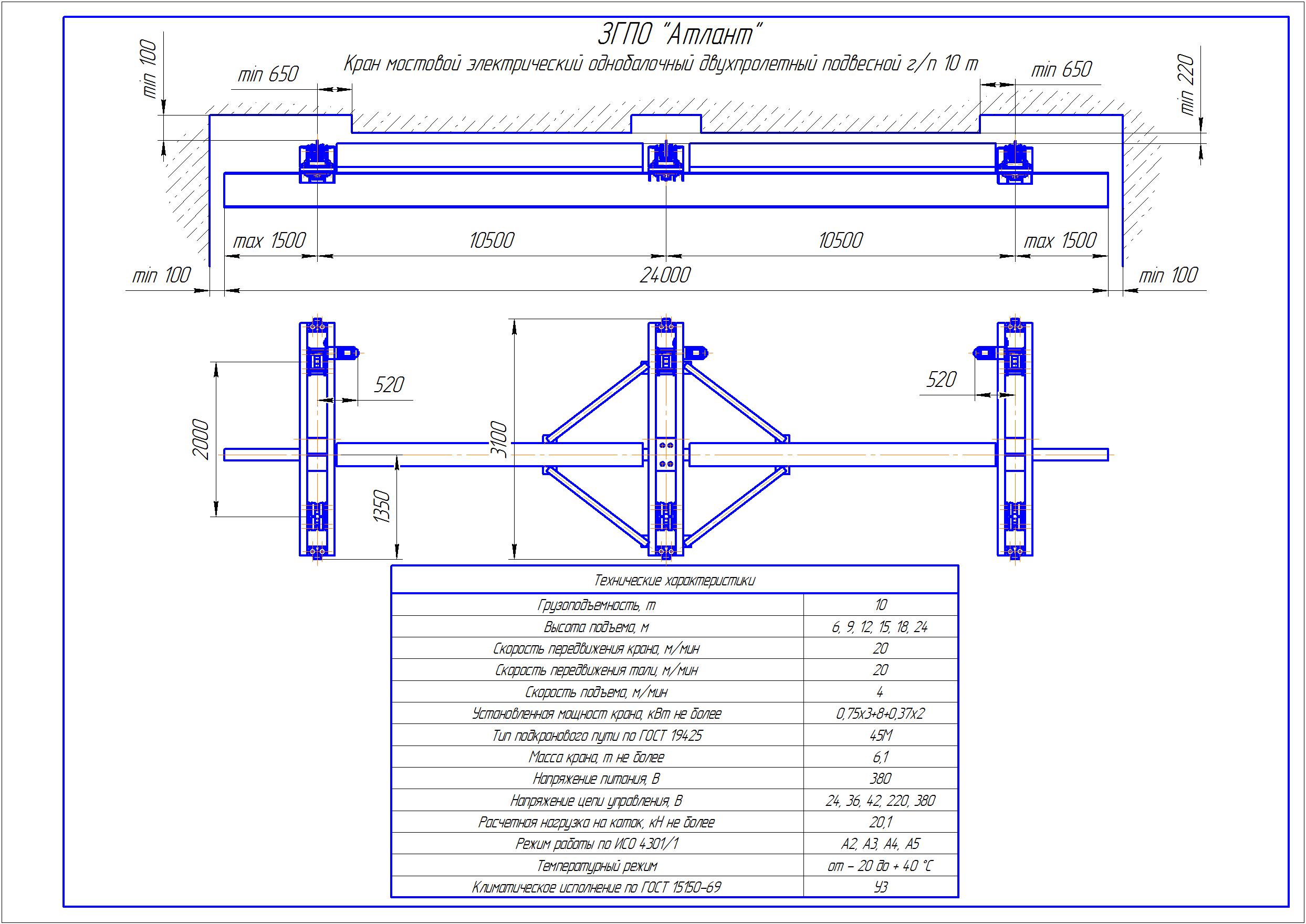 KBPD 7 3 - Подвесная кран балка двухпролетная