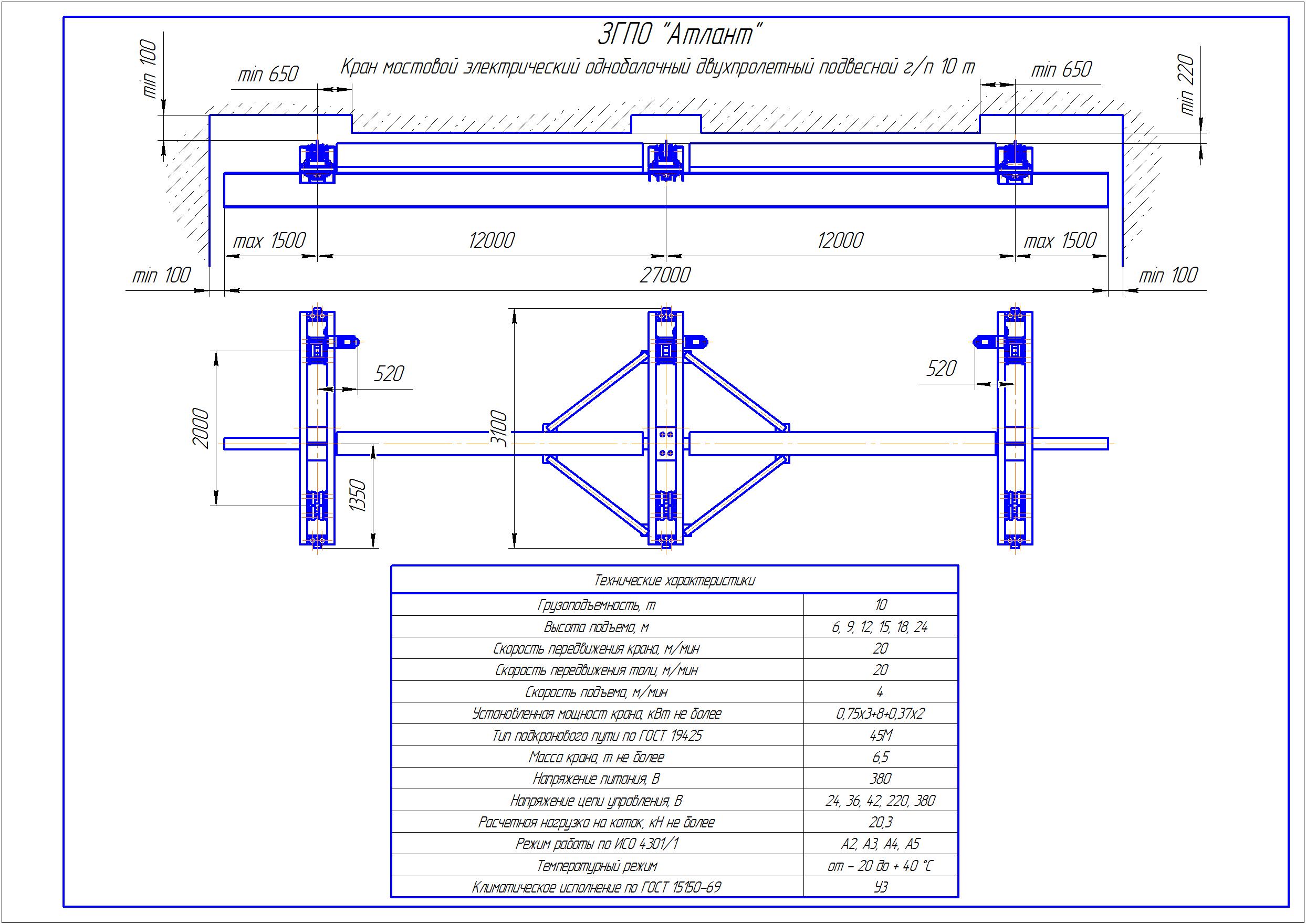 KBPD 7 4 - Подвесная кран балка двухпролетная