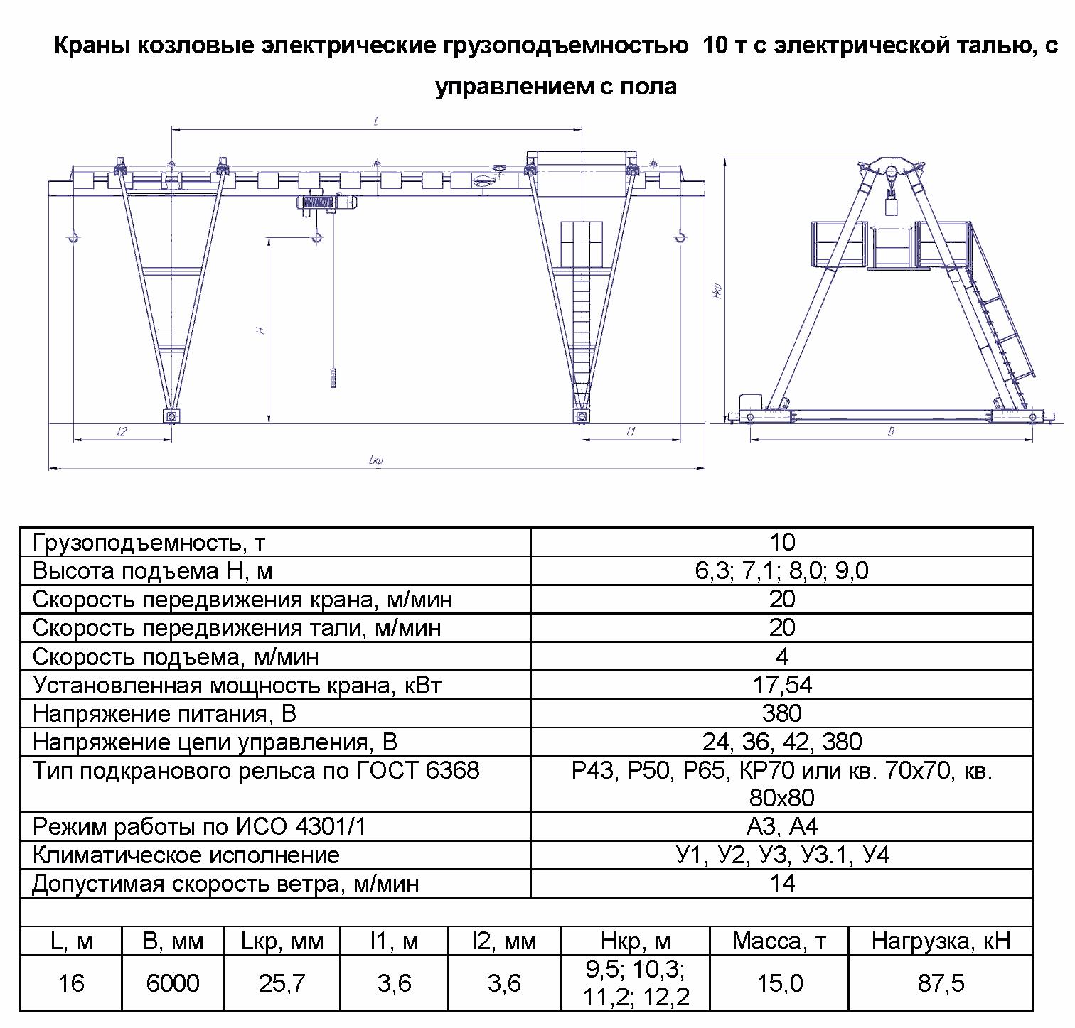 KKO 10 160 - Кран козловой электрический однобалочный