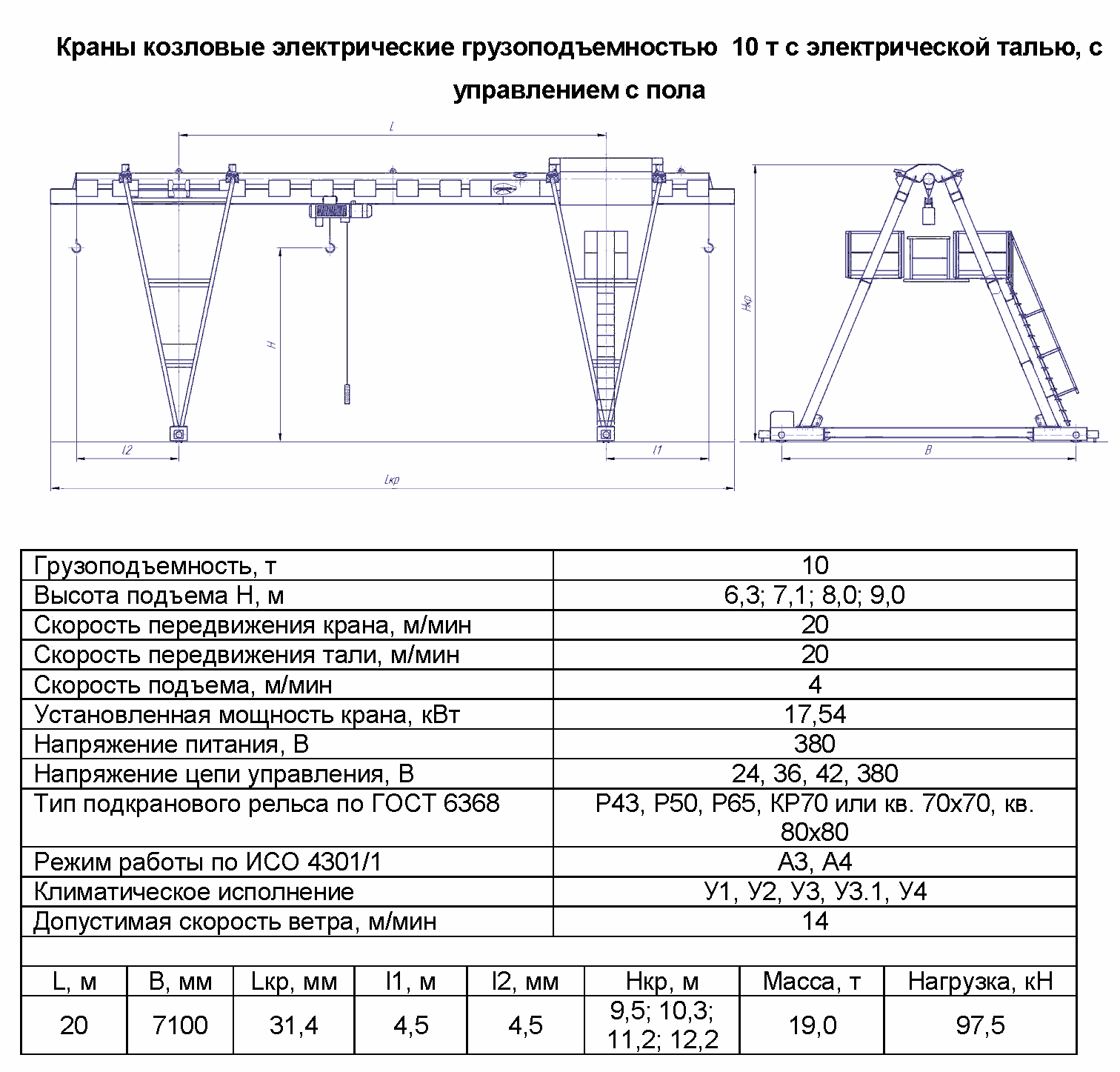 KKO 10 200 - Кран козловой электрический однобалочный