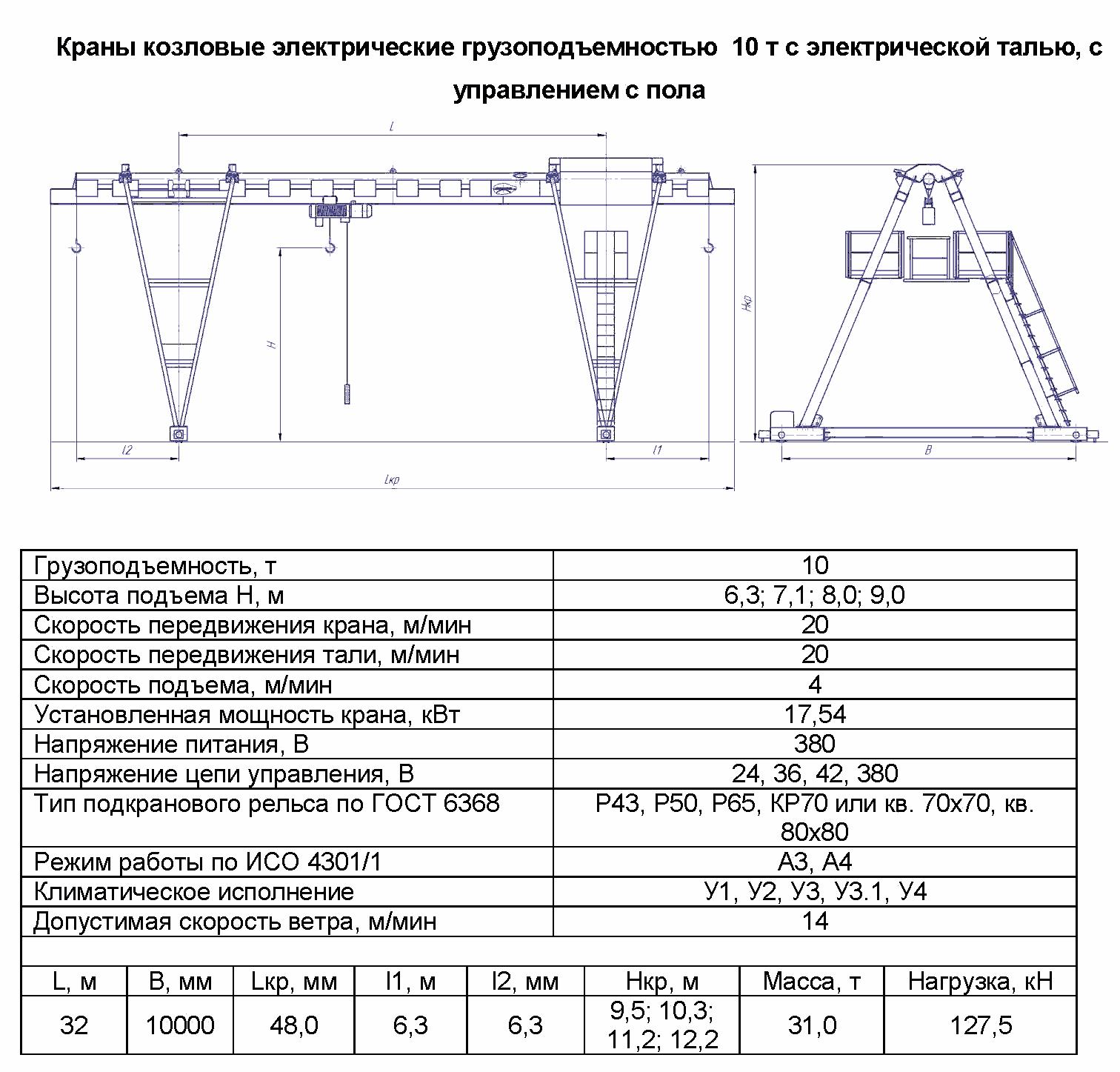 KKO 10 320 - Кран козловой электрический однобалочный