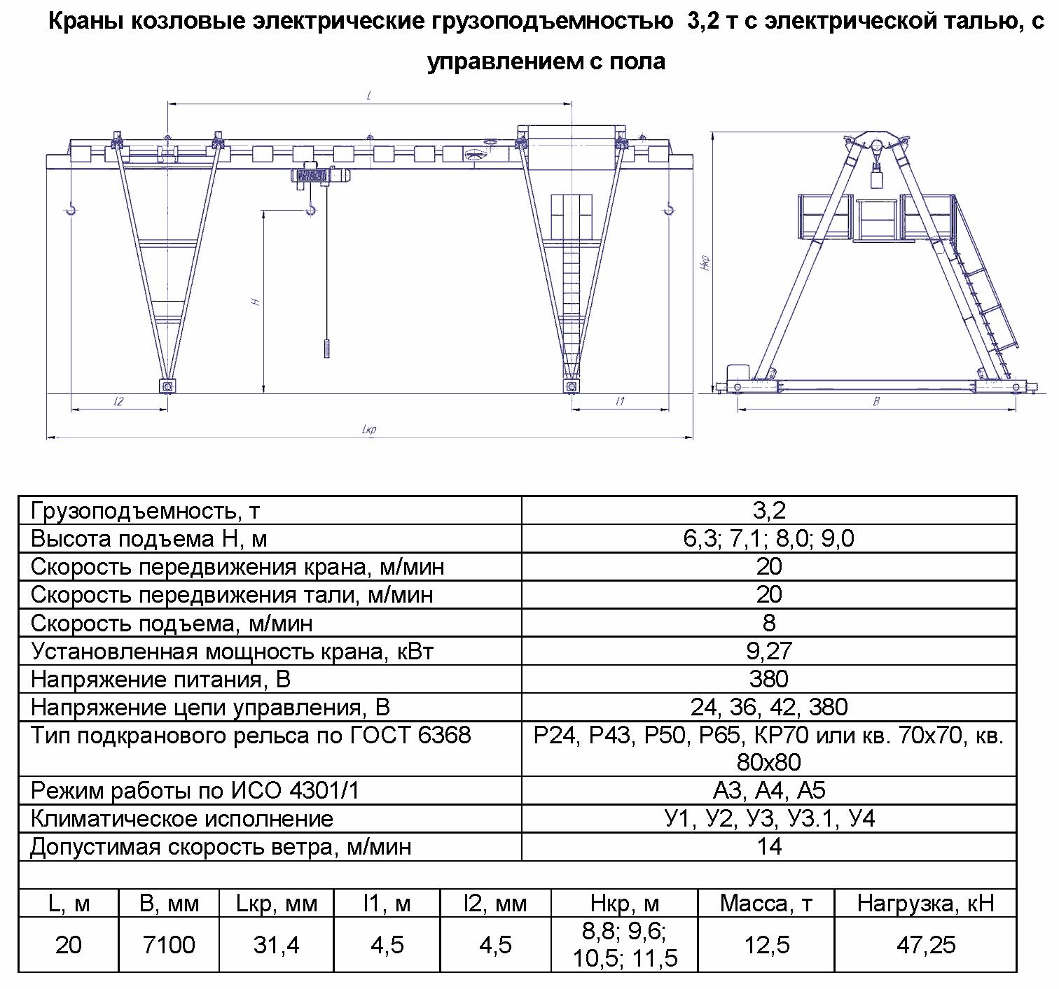 KKO 3 200 - Кран козловой электрический однобалочный