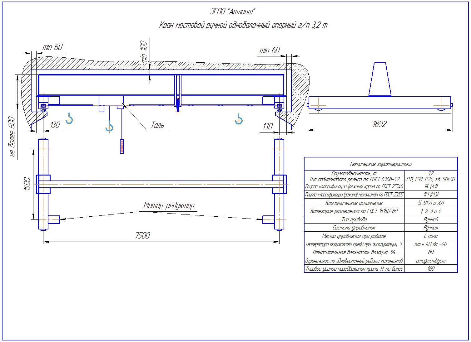 KRMOO 3 75 - Кран ручной мостовой опорный однобалочный