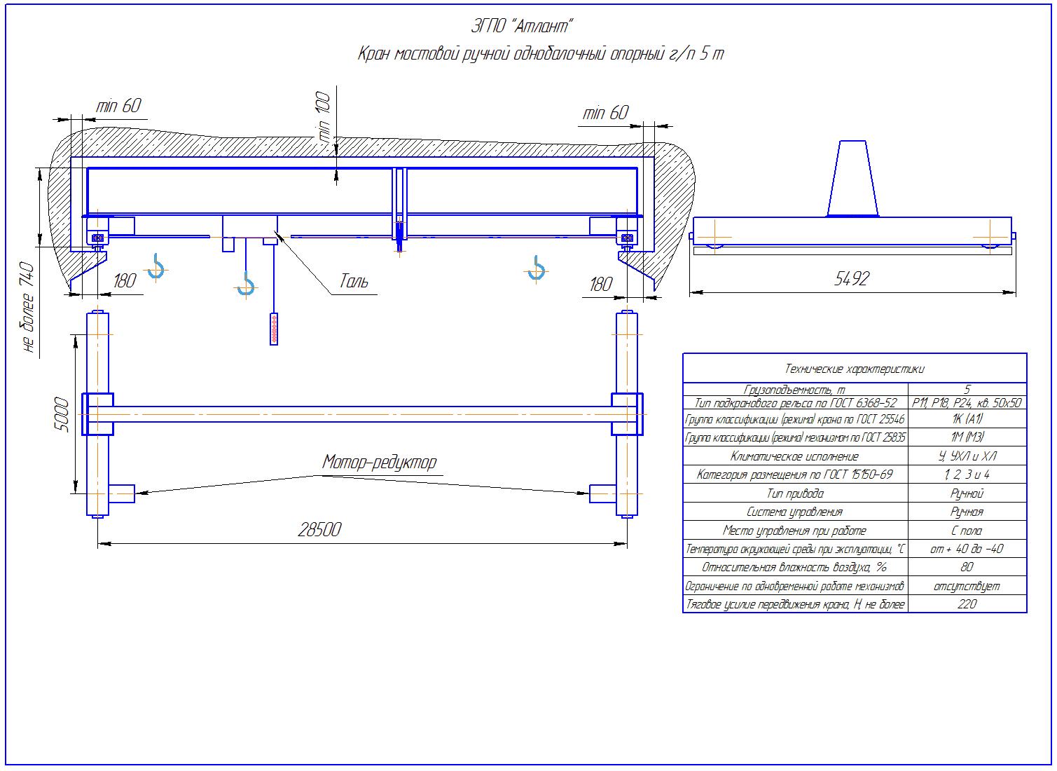 KRMOO 5 285 - Кран ручной мостовой опорный однобалочный