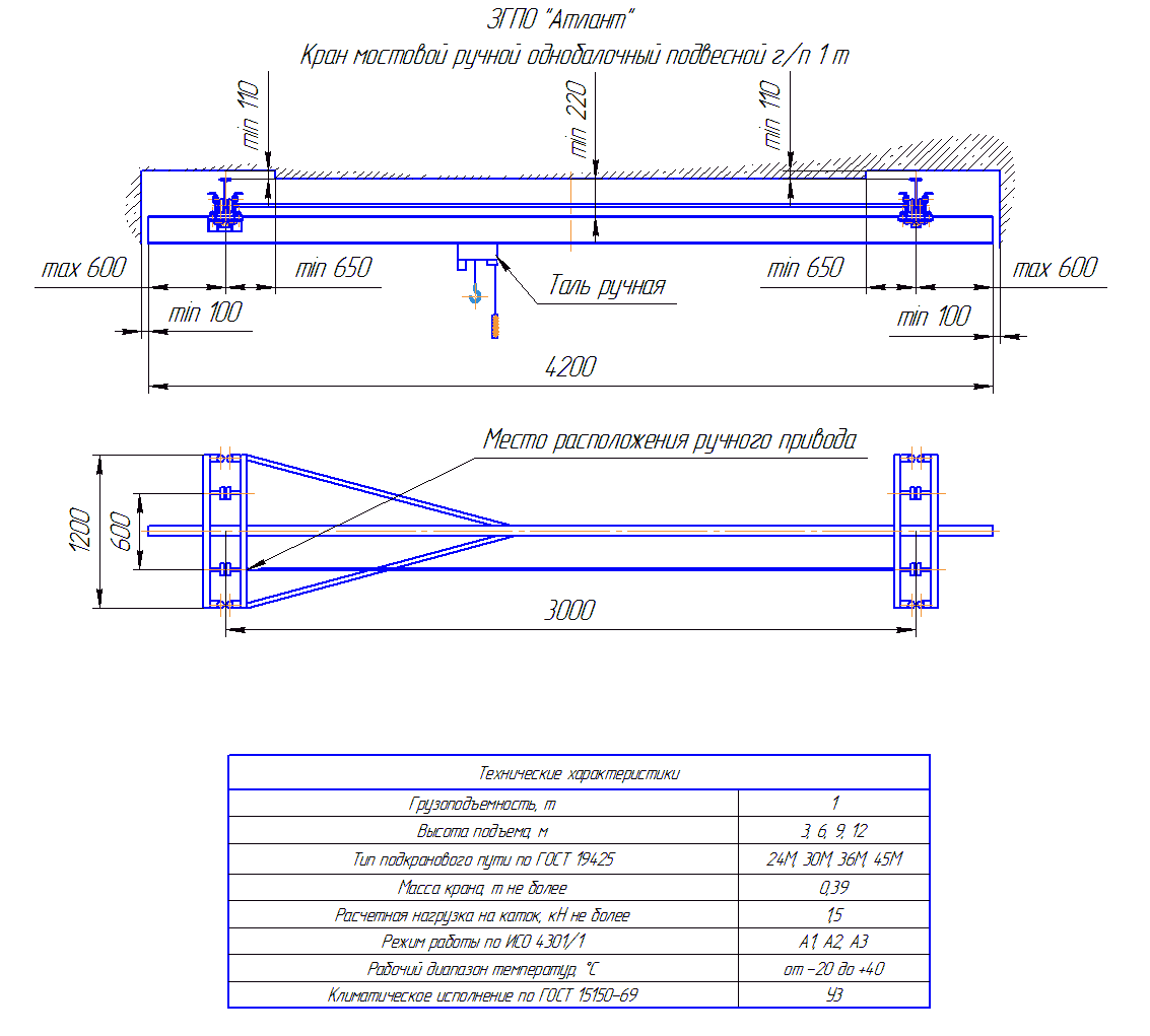 KRMPO 1 30 - Кран ручной мостовой подвесной однобалочный