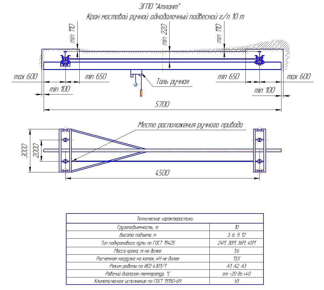 KRMPO 10 45 - Кран ручной мостовой подвесной однобалочный