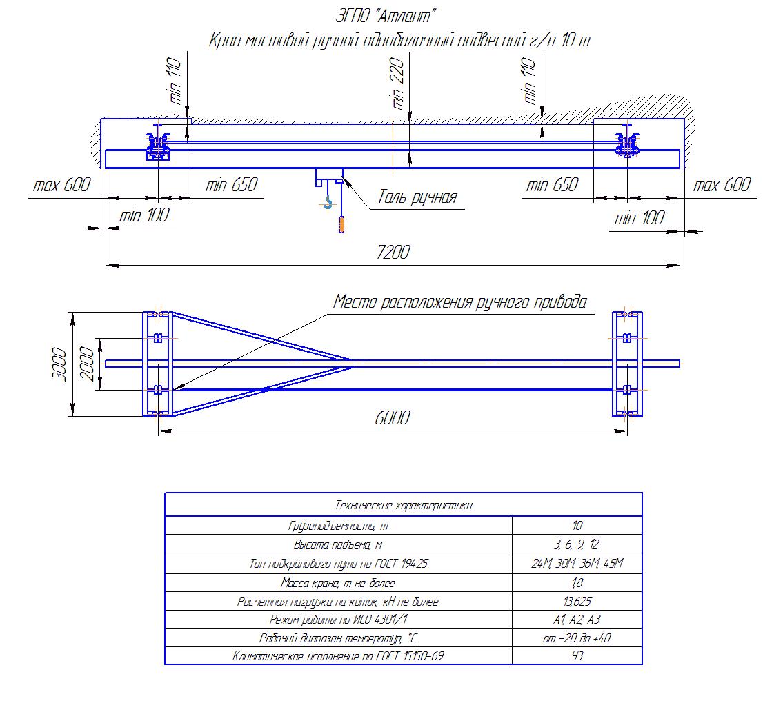 KRMPO 10 60 - Кран ручной мостовой подвесной однобалочный