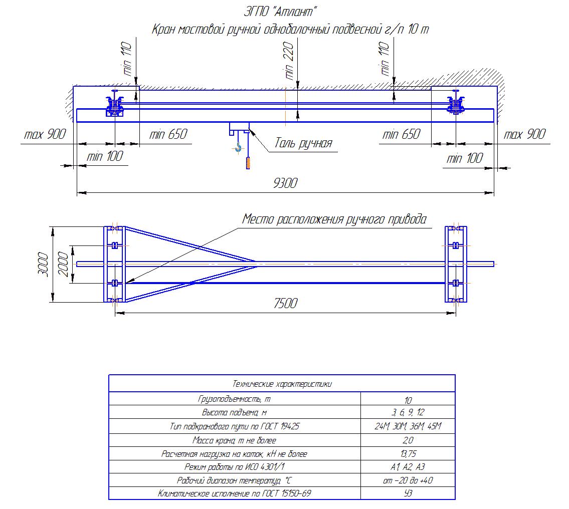 KRMPO 10 75 - Кран ручной мостовой подвесной однобалочный