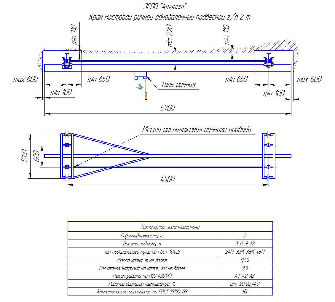 KRMPO 2 45 - Кран ручной мостовой подвесной однобалочный