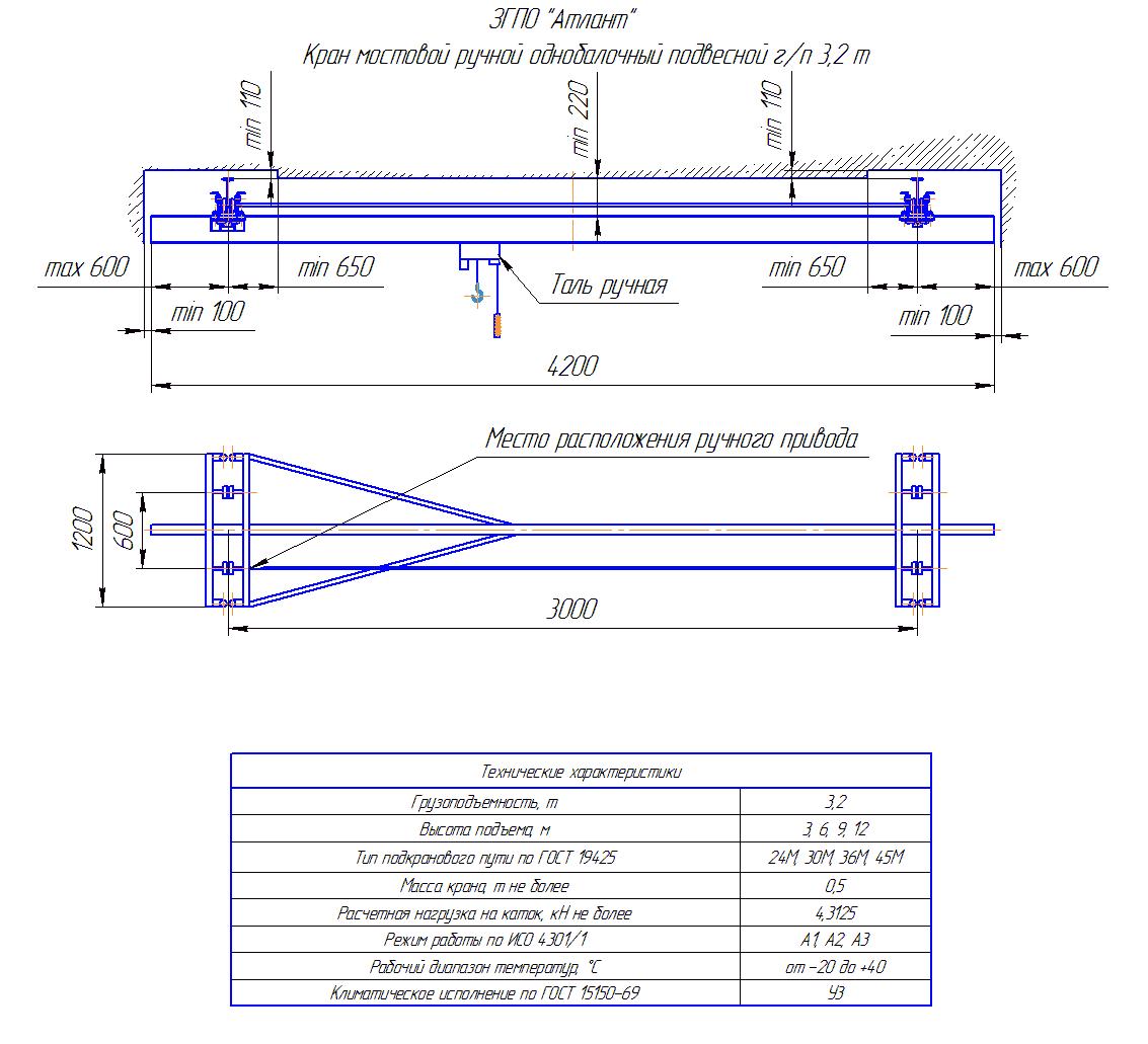KRMPO 3 30 - Кран ручной мостовой подвесной однобалочный