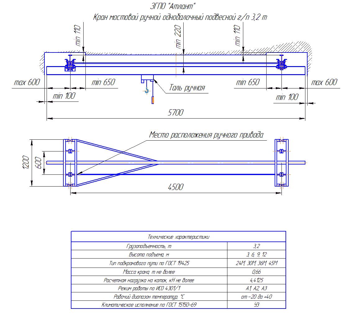 KRMPO 3 45 - Кран ручной мостовой подвесной однобалочный