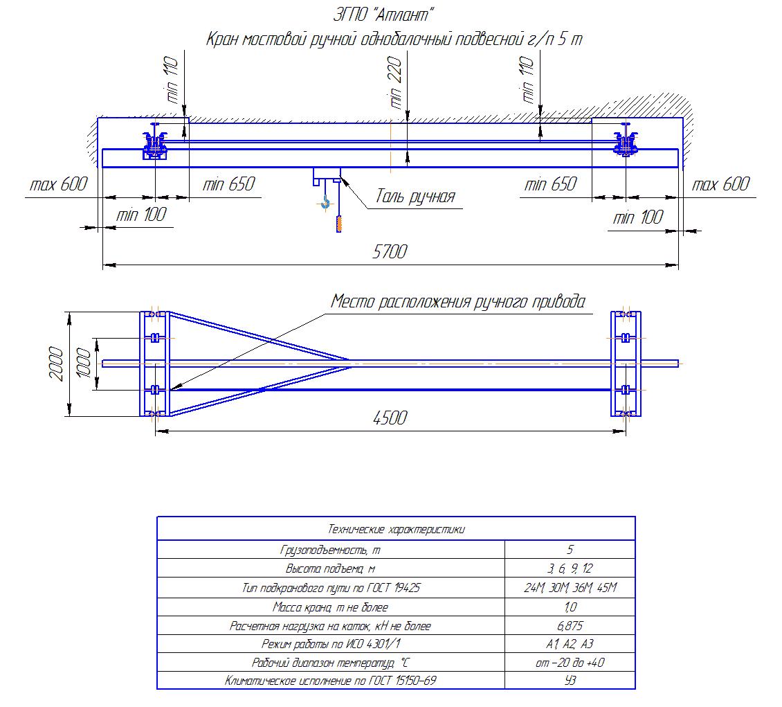 KRMPO 5 45 - Кран ручной мостовой подвесной однобалочный