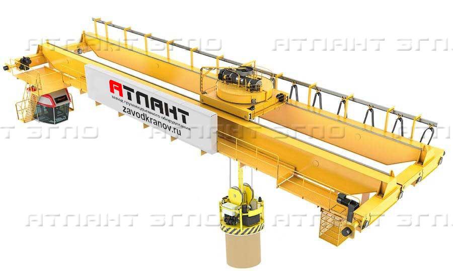 Кран мостовой специальный с гибким и жестким подвесом траверсы и вращающейся тележкой